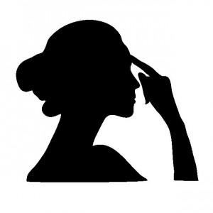 考える女性シルエット